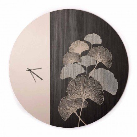 Orologio da Parete in Legno Tondo di Design con Decori, 2 Finiture, Made in Italy - Ginkgo