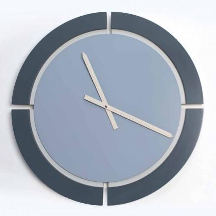 Orologio da Parete Moderno di Design Tondo in Legno Bianco Blu Avio - Savio