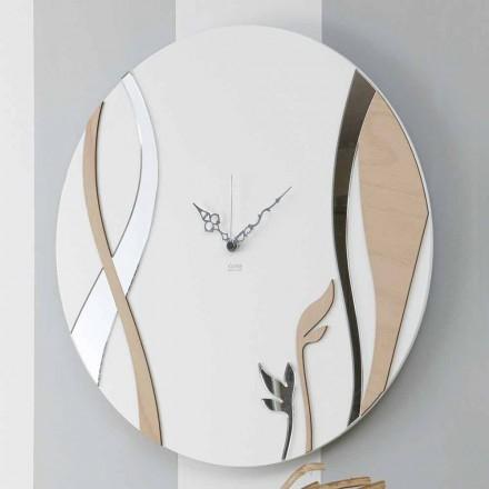 Orologio da Parete Moderno e Rotondo dal Design in Legno Decorato - Armonio