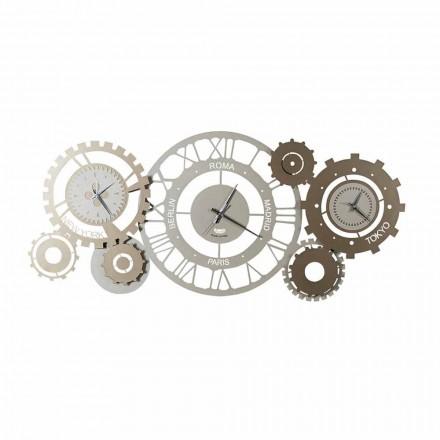 Orologio da Parete Moderno in Ferro con Tre Fusi Made in Italy – Meccanico