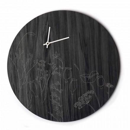 Orologio da Parete Moderno in Legno Design Tondo e Incisione a Laser - Florinto