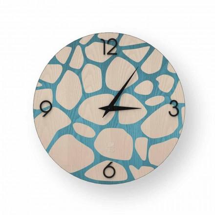 Orologio da parete moderno in legno Morolo, prodotto in Italia
