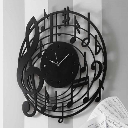 Orologio da Parete Nero Rotondo di Design Moderno in Legno Decorato - Musica