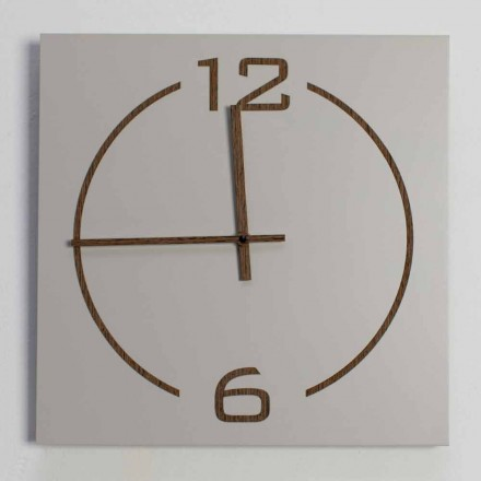 Orologio da Parete Quadrato e Moderno Design in Legno Beige e Marrone - Tabata
