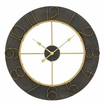 Orologio da Parete Tondo Diametro 70 cm Design Moderno in Ferro e MDF - Tonia