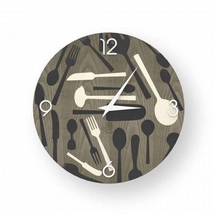 Orologio di design da parete Ispra, in legno, made in Italy