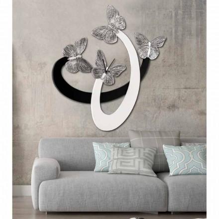 Orologio di design da parete avorio/nero fatto a mano in Italia Zenia