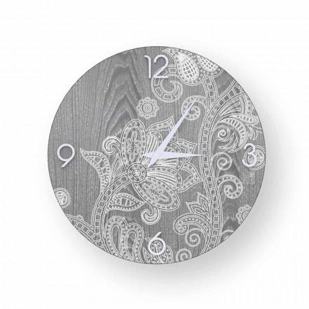 Orologio tondo da parete in legno,design moderno, Meolo, made in Italy