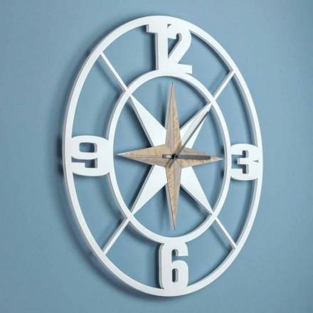 Orologio Grande a Parete Design in Legno Bianco e Marrone Shabby - Cardine