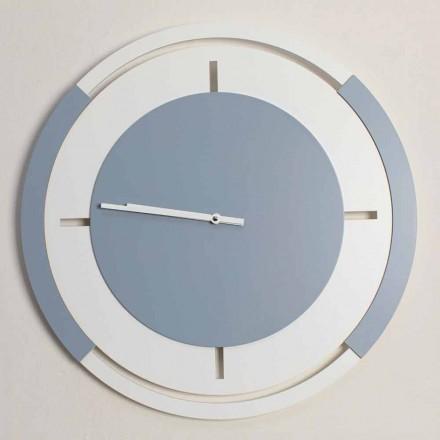 Orologio Grande a Parete di Design Classico Tondo in Legno Bianco e Avio - Beppe
