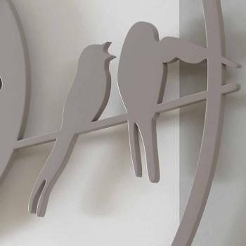 Orologio Grande da Parete Design Moderno in Legno Colorato Rotondo - Uccelli