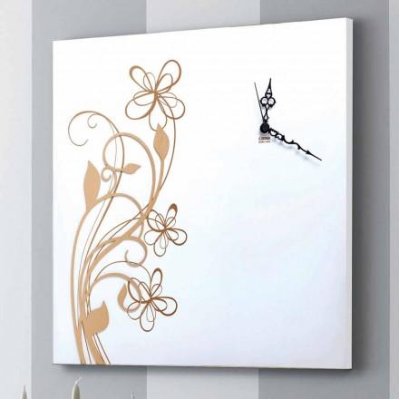 Orologio Grande da Parete Design Quadrato in Legno Bianco con Fiore - Florello