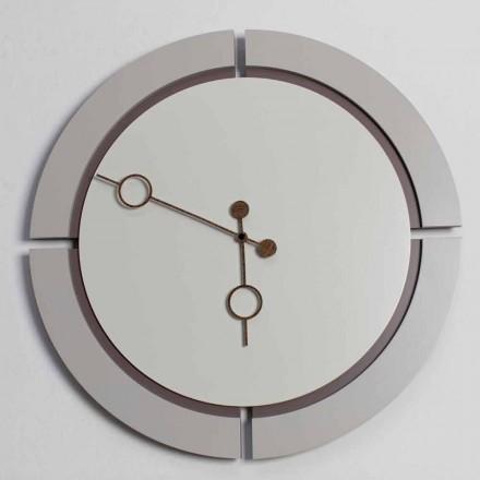Orologio Grande da Parete Design Tondo Moderno in Legno Marrone e Beige - Osvego