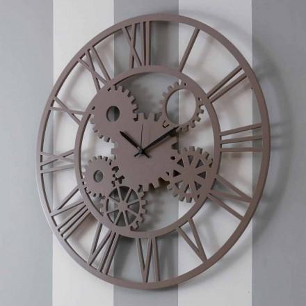 Orologio in Legno a Parete Grande e Rotondo di Design Shabby Colorato - Meccanio