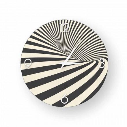 Orologio in legno decorato di design Azzio, made in Italy