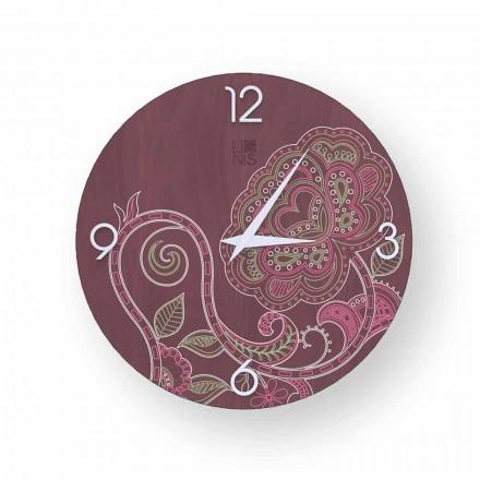 Orologio in legno decorato Dolo, design moderno,fatto in Italia