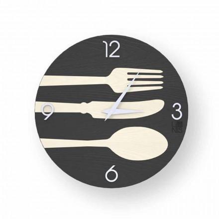 Orologio design moderno in legno da parete Clivio, fatto in italia