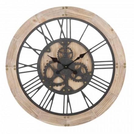 Orologio Tondo a Parete Diametro 80 cm di Design in Ferro e MDF - Silva