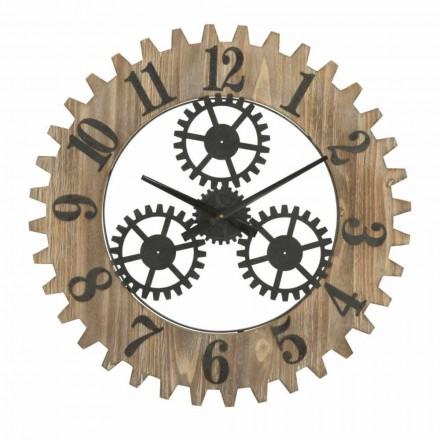 Orologio Tondo da Parete di Design Moderno in Ferro e MDF - Gitta