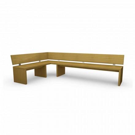 Panca angolare moderna legno di rovere, made in Italy,Misty