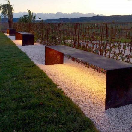 Panca da Esterno Artigianale in Acciaio con Luce LED Made in Italy - Magdalena