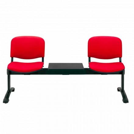 Panca da Sala da Attesa 2 Moduli Seduta in Tessuto, Ecopelle o Faggio – Carmela