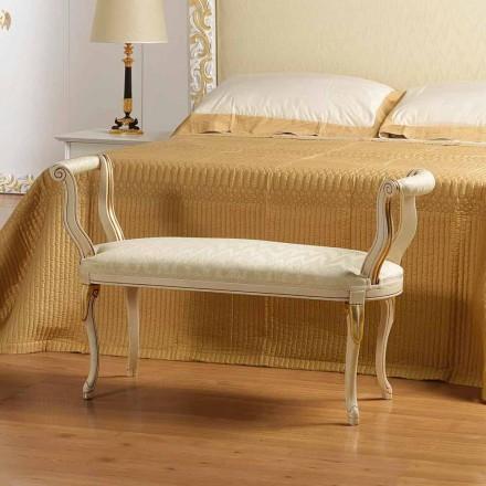 Panca scendiletto design classico colore avorio con decori oro Tyler