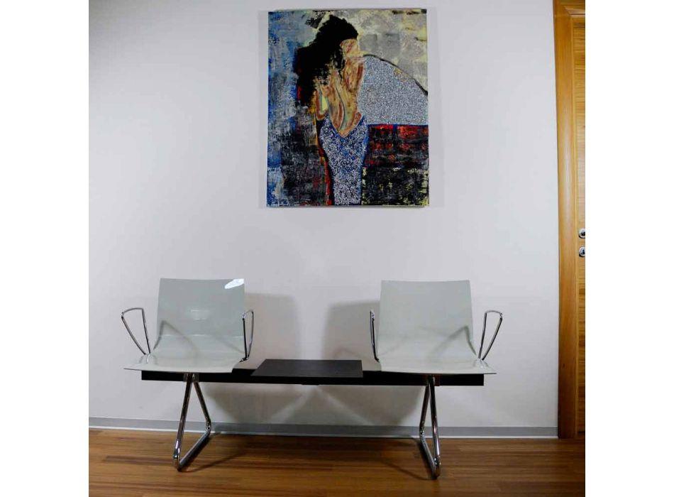 Panca Ufficio 2 Posti con Tavolino in Acciaio e Tecnopolimero Colorato - Verenza