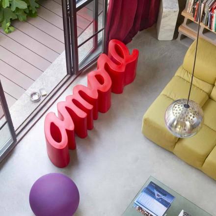 Panchina per esterno / interno colorata di design Slide Amore