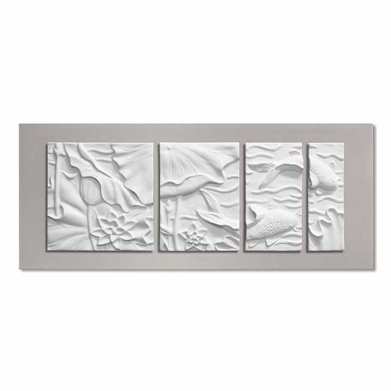 Pannello Decorativo a Parete Design Moderno Ceramica Bianco e Grigio - Giappoko