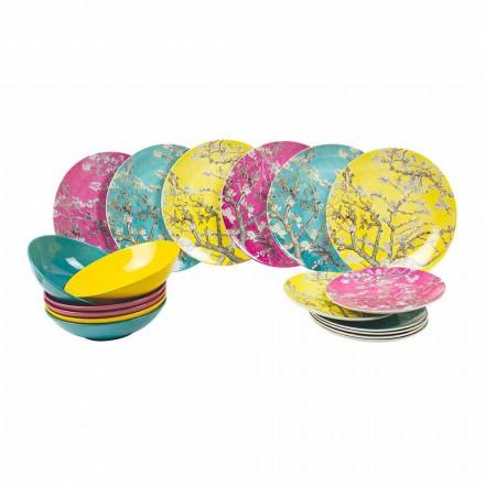 Piatti Colorati di Porcellana e Gres Servizio Moderno Tavola 18 Pezzi - Nagoya
