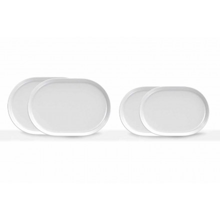 Piatti da Servizio Bianchi Ovali Design Moderno in Porcellana 4 Pezzi - Artico