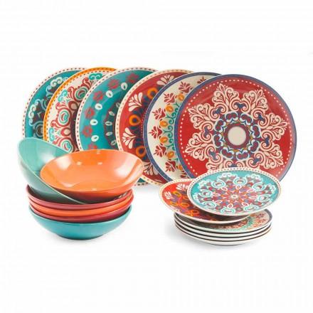 Piatti Etnici 18 Pezzi Servizio da Tavola Colorato Porcellana e Gres - Persia