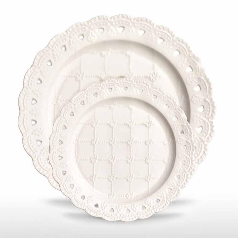 Piatto Bomboniera 12 Pezzi in Porcellana Bianca Decorata a Mano - Rafiki