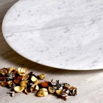 Piatto Centrotavola Moderno in Marmo Bianco di Carrara Made in Italy - Miccio