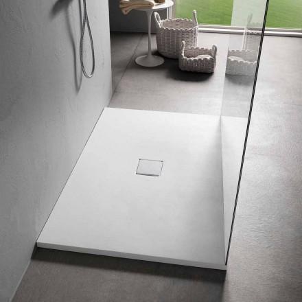 Piatto Doccia 120x80 in Resina Finitura Effetto Velluto Bianco Moderno - Estimo
