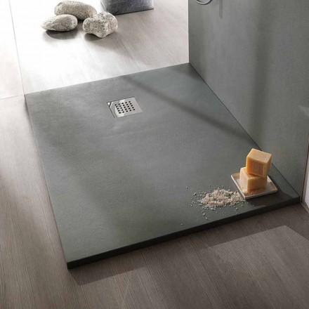 Piatto Doccia 120x90 Design Moderno in Resina Finitura Effetto Cemento - Cupio