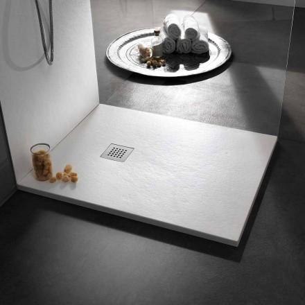 Piatto Doccia 90x80 Moderno in Resina Effetto Pietra e Acciaio - Domio