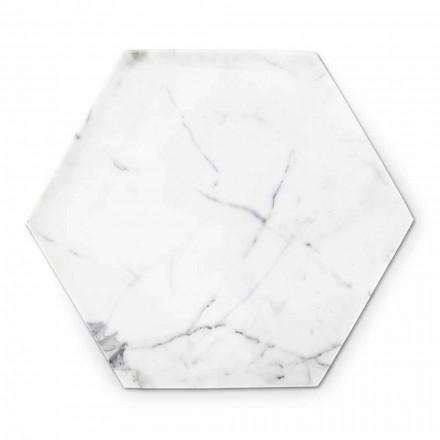 Piatto Esagonale di Design in Marmo Bianco di Carrara Made in Italy - Sintia