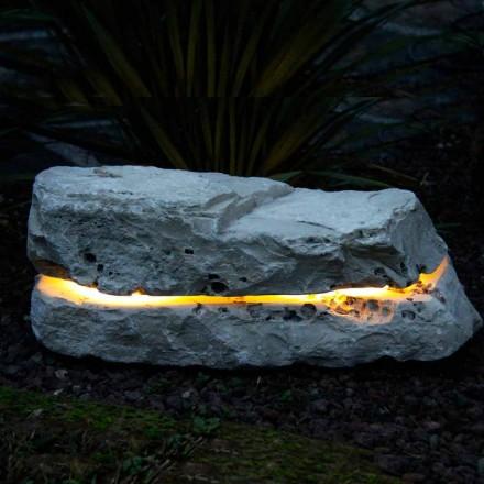 Pietra illuminante con diffusore sonoro in Fior di Pesco Carnico Sound