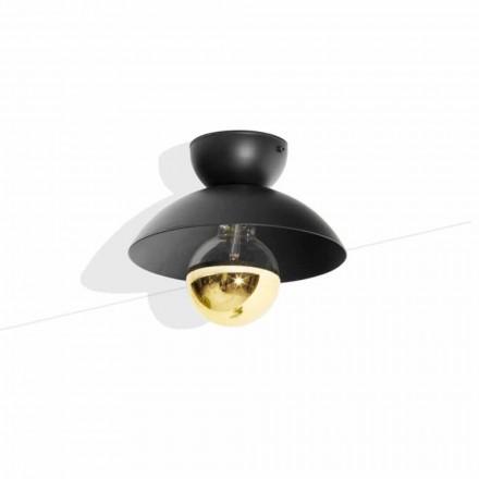 Plafoniera Design in Metallo con Dettaglio in Finitura Oro Made in Italy - Valta
