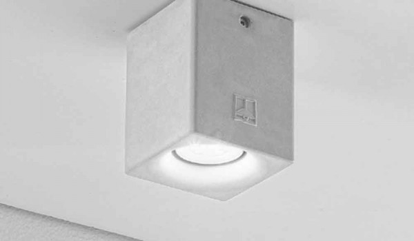 Plafoniera quadrata per esterno in gesso o cemento nadir
