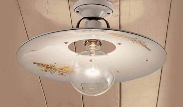 Plafoniere A Soffitto Classiche : Plafoniera rotonda a soffitto in ceramica decorata ferroluce