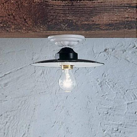 Plafoniera tonda a soffitto rustica in ceramica Ferroluce Potenza