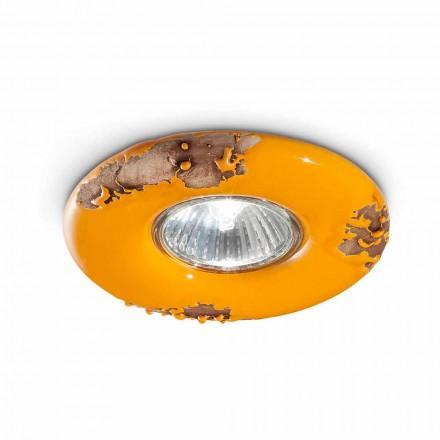 Plafoniera tonda vintage in ceramica artigianale Paula Ferroluce