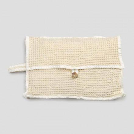 Pochette in Cotone Nido d'Ape Bianco Naturale con Bottone Madreperla - Anteha