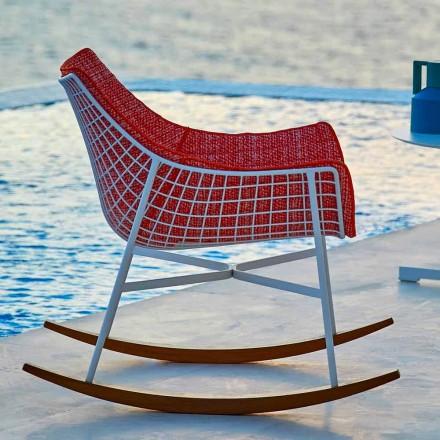 Poltrona a dondolo da giardino Varaschin Summer Set in acciaio e legno