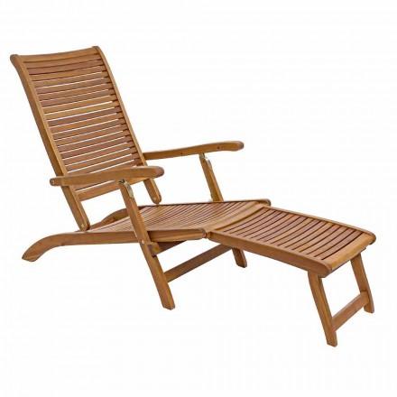 Chaise Longue da Esterno Reclinabile di Design in Legno Naturale - Roxen