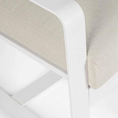 Poltrona da Esterno in Tessuto e Alluminio Verniciato Bianco, 2 Pezzi - Marianna