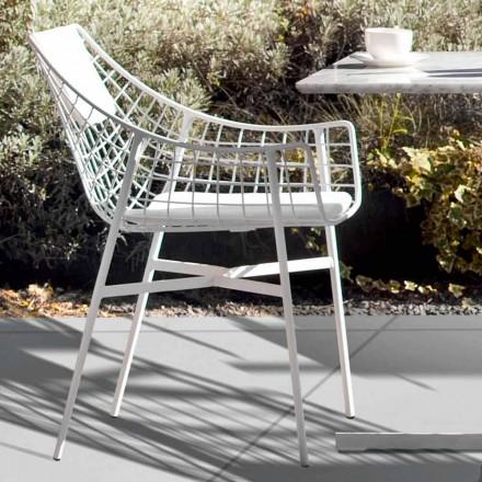 Poltrona da esterno Varaschin Summer Set di design in acciaio bianco